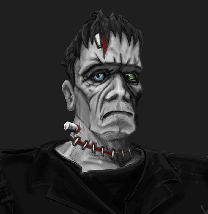 Frankenstein face study_drk